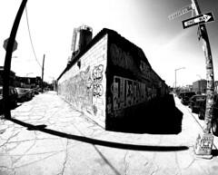 A Corner in Bushwick (MassiveKontent) Tags: corner urbandecay sidewalk cracks asphalt streetphotography bwphotography streetshot gopro fisheye bw contrast city monochrome urban blackandwhite streetphoto bushwick brooklyn streetart graffiti shadows nyc newyorkcity street road