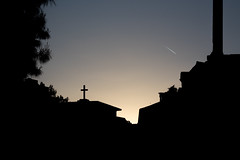 silhouette (giorgosAnk) Tags: silhouette athens greece black cross city cityscape town blue sky clear sunset house building urban tranquility calm plane line