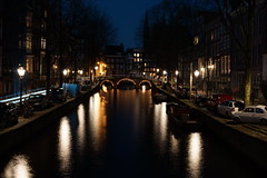 Lights, Bridges and Reflections (steve_whitmarsh) Tags: amsterdam netherlands city urban night lights building architecture bridge water canal abigfave