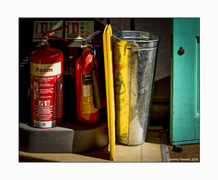 Red, yellow, sliver, blue...or is it green ! (zolaczakl) Tags: interior bristol door fireextinguisher cafe fujix100s photographybyjeremyfennell may 2018 uk reflections