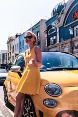 Lady in Yellow (pedrojltorres) Tags: girl woman yellow dress london fiat 500 595 abarth retro olympus om2n 50mm 14 kodak ektar 100 35mm 135 film analog analogue