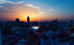 Crystal Ball Sunset (free3yourmind) Tags: crystal ball sunset minsk belarus city view architecture dust clouds cloudy