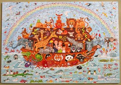 Noah's Ark (pefkosmad) Tags: jigsaw puzzle hobby pastime leisure wentworth wooden whimsies figurals medite traditional wood complete used secondhand noahsark illustration painting peterbarrett