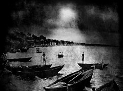 Along a Dark Ganges...with Texture (Rick Exstrom) Tags: rickexstrom india ganges blackandwhite texture