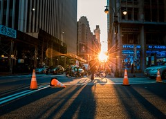 Broadway sunset (kareszzz) Tags: sunglare lensflare ny nyc newyork newyorkcity us usa america manhattan broadway sunset sundown streetphotography urbanphotography pov pointofview road evening canon colours colors contrast backlit backlight lights canon6d ef24105 building buildings longshadows shadows travel bicycle people trafficbuoy shopwindow