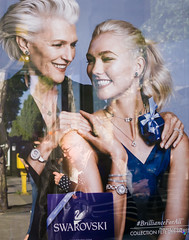 Street - Stroking a head ;-) (François Escriva) Tags: advertisement advert ad swarovski olympus omd candid fun funny street streetphotography paris france poster blue maye musk mother daughter women head smile fashion