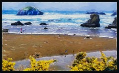 Face rock (A Work of Mark) Tags: facerock bandonor color digitalpainting topaz photoshop layers landscape beach people yellow
