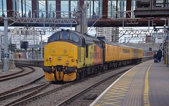 Colas Loco 37421 pushing the Network Rail Test Train northwards, on the first of three passes through London Stratford, as it makes its way to Barking. 25 04 2017 (pnb511) Tags: trains railway greateasternmainline geml colas rail freight class37 track station platform canopy footbridge london stratford