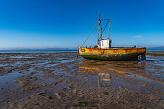 Low tide in Morecambe (Mister Oy) Tags: morecambebay morecambe nikond850 2470mmf28evr boat lowtide sand reflection beach shore bluesky