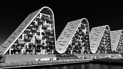 White Wave (Leipzig_trifft_Wien) Tags: architecture modern contemporary black white bnw repeating curve geometry monochrome monochromatic building housing estate structure
