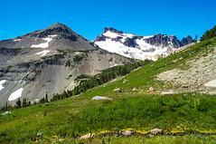 Gilbert Peak with Goat Rocks in the distance on the right (Ken Zaremba) Tags: cascademountains geography gilbertpeak goatrockswilderness northamerica outdooractivities outdoorsports snoqualmienationalforest tietonpeak unitedstates washington washingtonstate backpacking camping hiking meadow yakima geo:state=washington geo:lat=46499957944445 geo:country=unitedstates geo:city=yakima geo:location=unnamedroad geo:lon=12138926983333