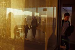 Barcelona (jaumescar) Tags: barcelona light shadow warm color sunset man travel reflection yellow orange silhouette street urban airport pic