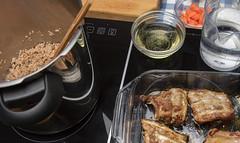 Brown pork stock ingredients. (annick vanderschelden) Tags: brown pork stock ingredients bouillon water wine whitewine bowl measuringcup dish roast food pressurecooking carrot seared groundpork