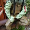Chameau-oliv-Baustelle8660 (Kanalgummi) Tags: rubber waders chestwaders wathose gloves gummihandschuhe bomber jacket bomberjacke