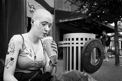 Pale (johnjackson808) Tags: piercings tattoos vancouver sidewalk monochrome granvillest people woman bw drink fujifilmxt1 blackandwhite streetphotography downtown