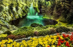 Fishing Hole (Rusty Russ) Tags: butchart gardens victoria british columbia canada flower waterfall color fishing colorful day digital window flickr country bright happy colour eos scenic america world sunset beach water sky red nature blue white tree green art light sun cloud park landscape summer city yellow people old new photoshop google bing yahoo stumbleupon getty national geographic creative composite manipulation hue pinterest blog twitter comons wiki pixel artistic topaz filter on1 sunshine image reddit tinder