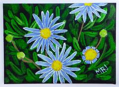 Blue Daisy (M.P.N.texan) Tags: paint painting botanical flower flowers flowering bloom blooms blooming daisy blue marguerite handpainted original mpn