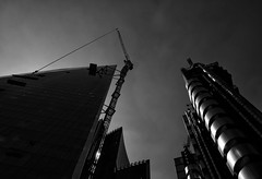 Looking up from Lime Street (Dun.can) Tags: cityoflondon ec3 london blackwhite lloydsbuilding willisbuilding scalpel limestreet architecture