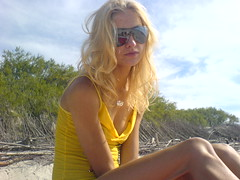 Girl (Miroslaw) Tags: summer beach girl beauty sunglasses yellow blond palanga