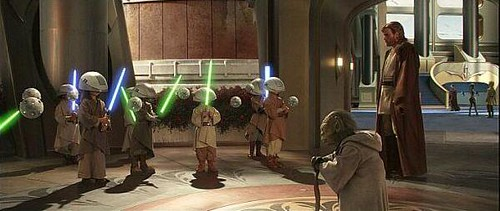 Star Wars Yoda and Obi Wan with younglings