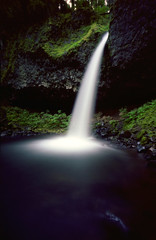 Ponytail Falls (Zeb Andrews) Tags: film nature water oregon outdoors landscapes hiking smooth pinhole waterfalls pacificnorthwest simple columbiarivergorge zeroimage favoriteplaces kodak100uc zero69 ponytailfalls bluemooncamera zebandrews zebandrewsphotography