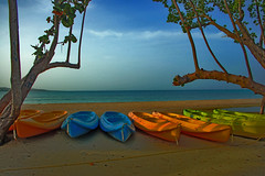Early Morning Sun Across Kayaks On The Beach - Jamaica (Marc_714) Tags: ocean blue sun color colour boat flickr kayak sandals vivid jamaica marc 714 0714 sandalswhitehouse cher0213 marcjamaica marc714