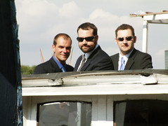 gangsta (theonewhoistall) Tags: wedding men andy john matt three boat suits phil trish young battersea theonewhoistall