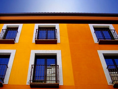 Complementary Orange and Blue (MaiKoh) Tags: blue windows espaa orange color building geometric window colors yellow azul architecture ventana spain arquitectura colorful apartment flat balcony edificio colores minimal complementary flats ventanas amarillo balconies minimalismo balcn vila anaranjado balcones piso pisos castillaylen piedrahita coloroso geomtrica abigfave castileandlen