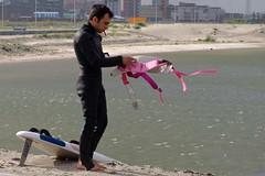Blijburg - almost ready (CharlesFred) Tags: pink man black sexy male men beautiful beauty amsterdam sex handsome uomo windsurfer wetsuit ijburg blijburg uomini mannen 259090307
