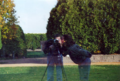 Reflection (Kevin D. Hendricks) Tags: selfportrait kiss kevin abby blogheader sculpturegardens dangraham twowaymirrorpunchedsteelhedgelabyrinth