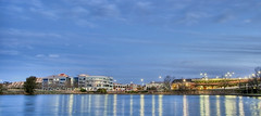 Belconnen Centre - Wide (OzBandit) Tags: blue light sunset sky lake color colors skyline night clouds buildings landscape industrial cityscape colours capital australia canberra hdr belconnen ferropool 2for2 bluelist
