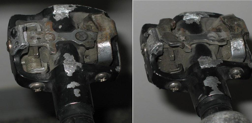 Broken SPD bicycle pedal
