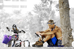A Book and  A Bicycle; Life's A Beach (espion) Tags: blue portrait people iso200 singapore 100v10f f5 50200mm weeklysurvivor 1125 200mm e500 zd 1000v eastcoastparkway freetheimagecolour