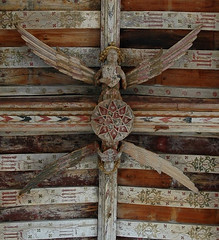 angels (estherase) Tags: wood boss church angel print wooden carved suffolk wings findleastinteresting painted ceiling angels placesofworship southwold beams sheild 1f placeofworship emssimp blythburgh southwold2006