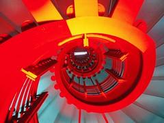 spiral (jusan) Tags: red orange berlin rot spiral lights staircase wendeltreppe