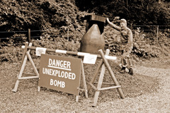 UNEXPLODED BOMB (Leo Reynolds) Tags: sepia photoshop canon eos iso400 28mm 1940s duotone f71 40s 30d 0ev 0008sec hpexif leol30random xratio32x groupsepia groupsepialovers xleol30x