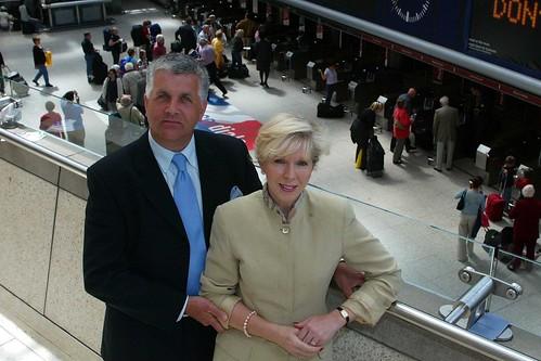 Simon Pielow & Fay Lejeune of Train Chartering at London's Waterloo Station outside the Eurostar International Terminal
