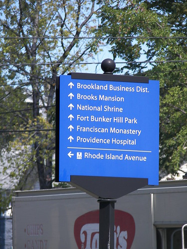 Wayfinding sign at Rhode Island Avenue and 12th Street NE by brooklandcdc.