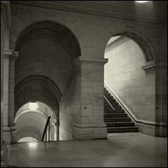 Up Stairs Down Stairs (T. Scott Carlisle) Tags: nyc bw newyork 6x6 film public square library hasselblad toned tsc tphotographic tphotographiccom tscarlisle tscottcarlisle