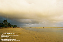 a yellow sunset (Kuakata, Bangladesh) (Ideas_R_Bulletproof) Tags: sunset sea cloud sun beach yellow sand bangladesh kuakata 24mmf28af