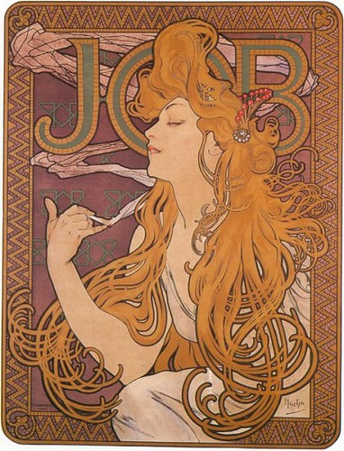 Alphonse Mucha, Papier a Cigarettes Job ad, 1896 b