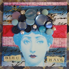 Bleu Raye (HollyLovesArt) Tags: bird art girl collage vintage mixed media crystals buttons mini fornasetti