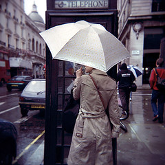 Haymarket Rain (D I C K S D A I L Y) Tags: colour london holga haymarket brolly