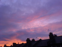 the sky goes purple in anger at the roofs of north london.. (Bill McIntyre) Tags: morning orange london home clouds sunrise early colours purple roofs badday badweek