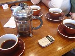French Press @ Cafe Grumpy (yehwan) Tags: ny coffee brooklyn cafe frenchpress cups greenpoint yirgacheffe cafegrumpy