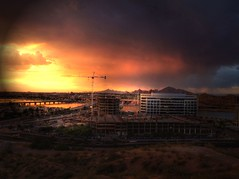 Storm Approaching (Videoal) Tags: arizona lake storm mountains clouds buildings lights evening construction traffic crane bridges explore vehicles hdr tempe tempeaz