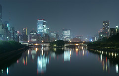 Osaka at night (hira3) Tags: light night river landscape pentax osaka civiccentre atnight ordinarylandscape centralbusinessdistrict landscapeofpower