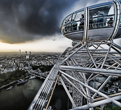 London Eye #1 (Mark Interrante (aka pinhole)) Tags: uk bridge sunset london architecture wow surreal engineering londoneye spacestation 16mm 1022mm futuristic lucisart lucis yug diamondclassphotographer