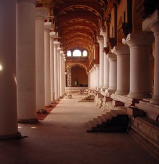 TirumalaiNayakar Mahal-03 (Ravages) Tags: world old travel sculpture india white art history architecture buildings vanishingpoint asia time perspective palace row column walls monuments pillars indianarchive madurai tamilnadu indianness nayakar visitindia visitchennai