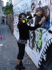 Glenda spraying Mary Street Newtown Stencil (Glenda GlitaGrrl) Tags: streetart art graffiti stencil mural selfportraits adventure newtown glenda authorised glitagrrl glendapontes